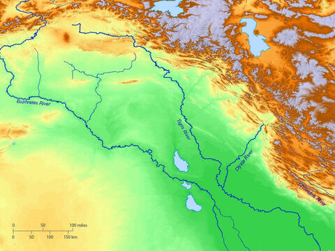 Blank map of Ancient Mesopotamia showing rivers Euphrates and Tigris. – Slide 2