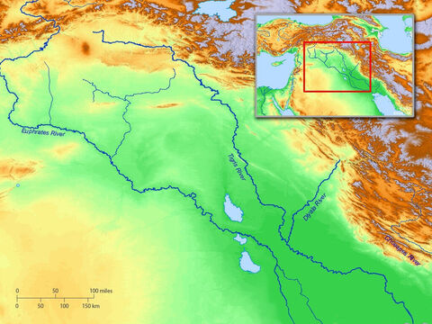 Blank map of Ancient Mesopotamia showing rivers Euphrates and Tigris. – Slide 4