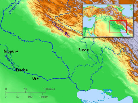 Map showing Ur (home city of Abraham) and Susa (key city of the Persian Empire). – Slide 6