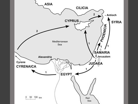 Map showing the scattering of believers after Stephen's death. <br/>1. Following Stephen's death in 35AD, the more radical members of the young church in Jerusalem are persecuted by the staunchly traditional Jewish hierarchy. Most of the Greek-speaking believers are scattered throughout Judaea and Samaria. (Acts 8:1) Some of those persecuted travel as far as Phoenicia, Cyprus and Antioch, spreading the message among fellow Jews. (Acts 11:19)<br/>2. Other Jewish believers from Cyprus and Cyrene go to Antioch in Syria and begin speaking to the Greek-speaking Gentiles as well as to fellow Jews. (Acts 11:20) – Slide 3