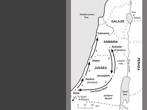 Map of  Philip's Journeys.<br/>1. During the persecution of 35AD, Philip travels north with those who have fled to Sebaste, the principal city of Samaria. (Acts 8:4-8)<br/>2. Philip then travels south on the desert road leading from Jerusalem down to the coastal town of Gaza. On the way, Philip meets a Jewish official from the court of the Queen of Ethiopia. The Ethiopian believes in Jesus and is baptised. (Acts 8:26-39)<br/>3. The Holy Spirit takes Philip further north to Azotus (Ashdod). ( Acts 8:40)<br/>4. Philip spreads the Good News of Jesus in all the coastal towns he passes through before reaching Caesarea on the coast of Samaria. (Acts 8:40) – Slide 4