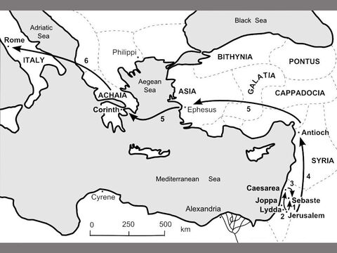 Map of  Peter's Journeys. <br/>1. Peter and John go to Sebaste in Samaria in 35AD where they pray for the new Samaritan believers to be filled with the Holy Spirit. (Acts 8:14-25)<br/>2. Later, Peter visits the believers in Lydda. He heals Aeneas who has been bedridden for eight years. (Acts 9:32-35) Peter is called to Joppa where Tabitha , one of the believers, has died. Peter prays for her, and the dead woman comes back to life. (Acts 9:36-43) Peter then travels to Caesarea and shares the Good News of Jesus's death and resurrection with Cornelius's Gentile family and friends. (Acts 10:1-48)<br/>3. Peter reports back to the Jewish believers in Jerusalem. (Acts 11:1-18)  <br/>4. Peter meets Paul in Antioch in 50AD, shortly after the Council of Jerusalem. (Galatians 2:11-14)<br/>5. In 66AD, Peter writes from Rome to the Jewish believers in the Roman provinces of Asia Minor. (1 Peter 1:1) – Slide 5