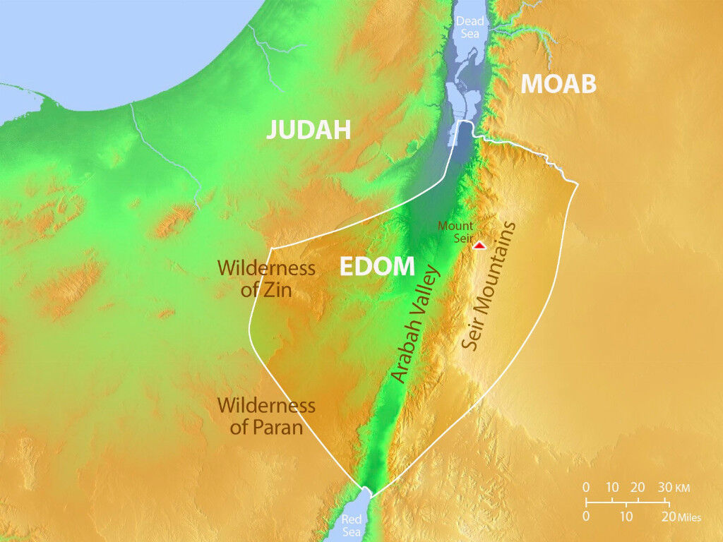 FreeBibleimages :: Maps of Edom :: Maps of the land of Edom in the Old Testament era (Bible overview)
