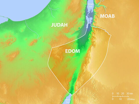 Location of the land of Edom when the descendants of Esau settled. Also showing region of Judah and Moab. – Slide 1