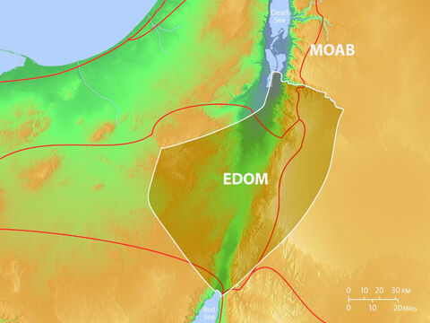 Location of Edom and Moab with major trade routes. – Slide 2