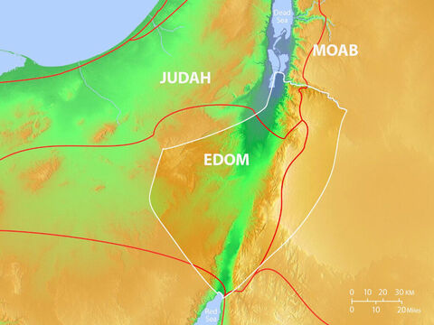 Location of Edom, Judah and Moab with major trade routes. – Slide 4