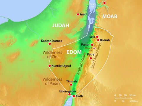 Major towns and cities in Edom with geographical features. – Slide 14