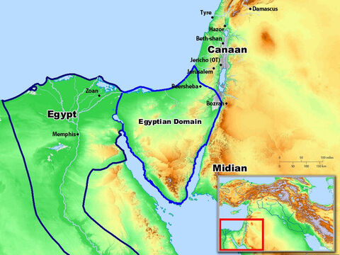 Areas under the control of the Egyptians in the time of the Exodus. – Slide 7