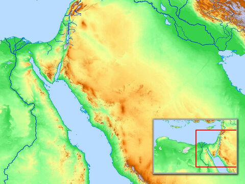 Blank map of Egypt, the Sinai peninsular and the wider region including Israel. – Slide 15