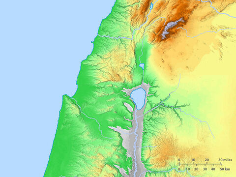 Blank map of the Sea of Galilee and surrounding region. – Slide 4