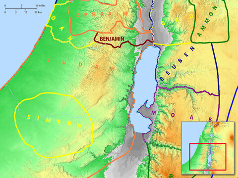 Allocation of land in Southern Israel to the 12 tribes. – Slide 30