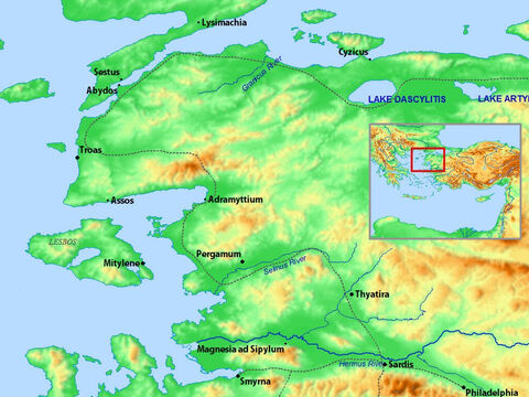 Map of Sardis, Thyatira, Pergamum, Troas and surrounding areas. – Slide 12