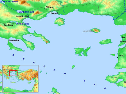 Map of Troas, Neapolis, Philippi and surrounding regions. – Slide 13
