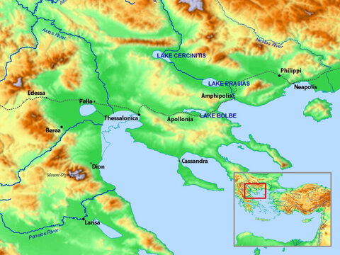 Map of Troas, Neapolis, Philippi, Thessalonica, Berea and surrounding areas. – Slide 14