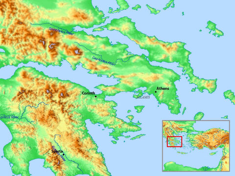 Map of area around Athens and Corinth. – Slide 15