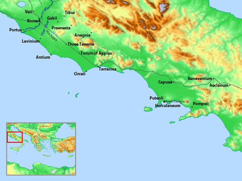 Map of central Italy including Three Taverns and Rome. – Slide 22