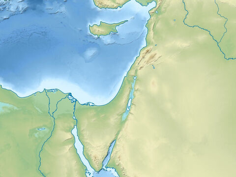 Map of the Arabian peninsular, Sinai peninsular, Syrian desert, and upper region of River Euphrates. The island is Cyprus. Mediterranean sea (top right), Red Sea (lower middle). – Slide 3