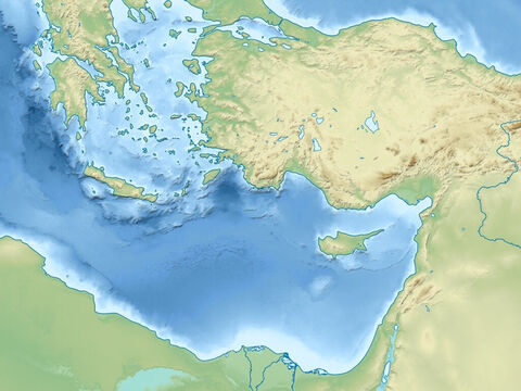Black Sea (top right), Aegean Sea (top middle), Mediterranean Sea (central), Asia minor (modern day Turkey), Taurus mountains, Syrian desert (center right), Nile delta (lower middle). – Slide 4