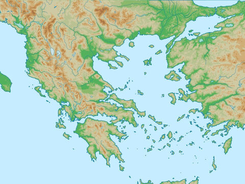 Aegean Sea with Asia Minor (Turkey) to left and Greece to the right. Region of Paul's second and third missionary trips. – Slide 5