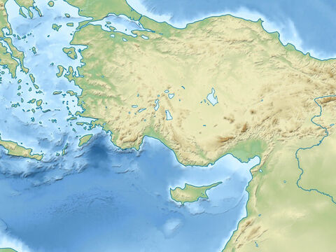 Black Sea (top right), Aegean Sea (top left), Mediterranean Sea (Central), Asia minor (modern day Turkey), Taurus mountains, Syrian desert (right). Region visited by Paul on all his missionary trips. – Slide 6