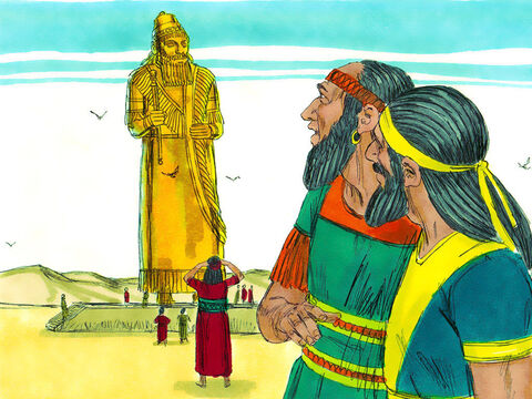 King Nebuchadnezzar made an image of gold, 27 metres (90ft) high and 2.7 metres (9ft) wide, and set it up on the plain of Dura in Babylon. All the rulers and officials were summoned to attend the dedication of the image. – Slide 2