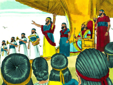 A herald loudly proclaimed, 'Everybody, is commanded, as soon as you hear musical instruments (trumpets, oboes, lyres, zithers, and harps) you must fall down and worship the image of gold that King Nebuchadnezzar has set up. Anyone who does not fall down and worship will immediately be thrown into a blazing furnace.' – Slide 3