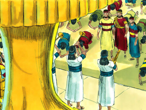As soon as the music played, everyone bowed down to the golden image – everyone, that is, except the Jews, Meshach, Shadrach and Abednego. They believed they should worship God and Him only. – Slide 4