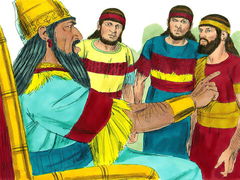 At that, the king flew into a rage and ordered the three men to be brought before him. He gave them one more chance to bow down when the music played or they would be thrown in the furnace. 'Do you think there is any god who can save you?' he shouted. – Slide 6