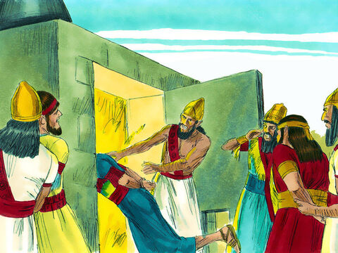Nebuchadnezzar lost his temper, and his face turned red with anger. He ordered the furnace to be heated seven times hotter than usual. The strongest men in his army tied the three Jews up and threw them, fully clothed, into the roaring furnace. – Slide 8