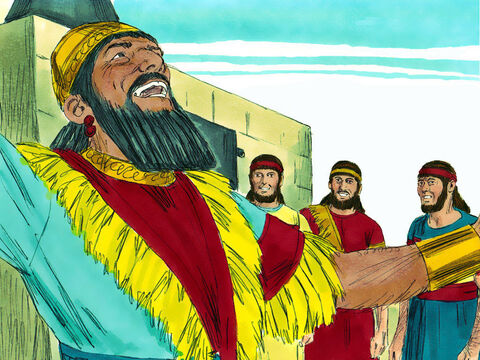 The king said, 'Praise the God of Shadrach, Meshach, and Abednego! He sent His angel and rescued these men who serve and trust Him. They disobeyed my orders and risked their lives rather than bow down and worship any god except their own.' – Slide 11
