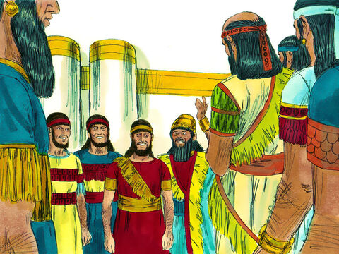 The King continued, 'I command that if anyone speaks disrespectfully of the God of Shadrach, Meshach, and Abednego, he is to be torn limb from limb, and his house is to be made a pile of ruins. There is no other god who can rescue like this.'Then the King promoted Shadrach, Meshach, and Abednego. – Slide 12