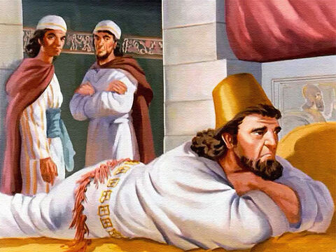 King Ahab was so unhappy that he went to bed and he wouldn't talk to anyone. – Slide 14