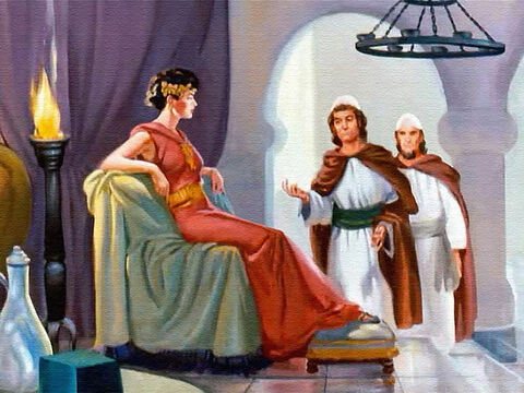 When the servants reported that the king was sad and wouldn't eat his food, Queen Jezebel prepared to take care of the matter right away. – Slide 17