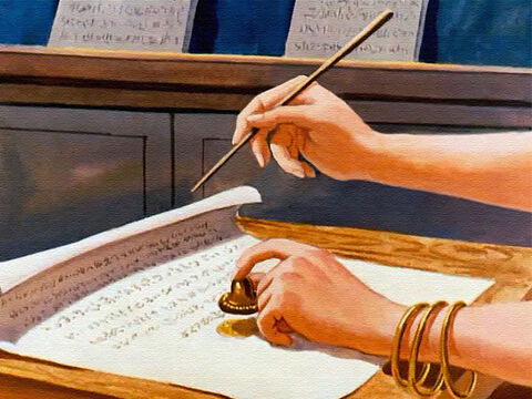 And she signed the letters with the king's name and stamped them with his seal, so the rulers of the city would be forced to obey. – Slide 20