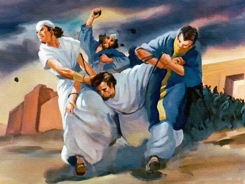 Naboth was carried outside the city walls and stoned to death. – Slide 25
