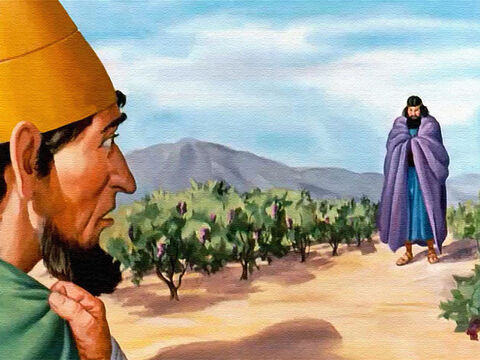 So King Ahab stood in the vineyard. But what he saw made his heart stand still! There stood Elijah – the stern prophet of God! – Slide 31