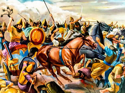 And they were a war-like people – during the reign of King Nebuchadnezzar, his cruel, fierce Babylonian armies conquered the surrounding nations. – Slide 3