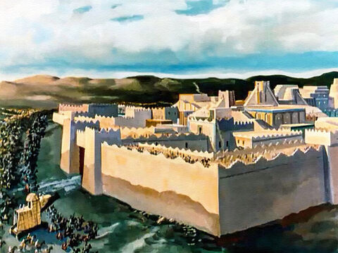 For outside the walls of Babylon was the mighty army of Medes and Persians led by Cyrus, King of Persia. But Belshazzar just laughed at them – unafraid. Were not the walls of Babylon 300 feet (92 meters) high and 80 feet (25 meters) thick? Cyrus could never conquer this city. – Slide 10