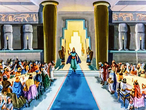 Shouts of acclamation arose from the crowd when the king came into the banquet hall. 'O King, live forever!' they cried, certain that the great Babylonian Empire would never end. – Slide 13