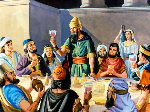As the king took his place at the table, servants brought in huge platters heaped with food. They filled the goblets with wine again and again... and the noise and shouts of revelry increased. – Slide 14