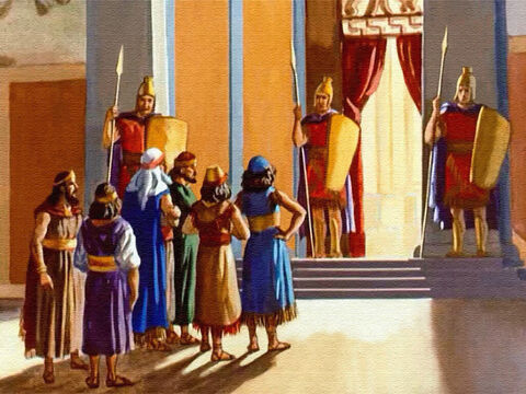 The princes gathered together outside the palace and asked for permission to appear before the king. – Slide 10