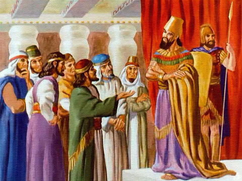 So the king gave them permission to come before him, and the one who had been chosen to speak for the group stepped forward with the usual greeting. – Slide 13
