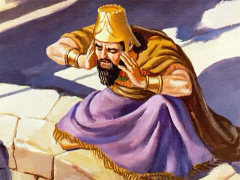 And the King Darius listened, hoping to hear the voice of his friend. 'O king, live forever,' came the reply. – Slide 37
