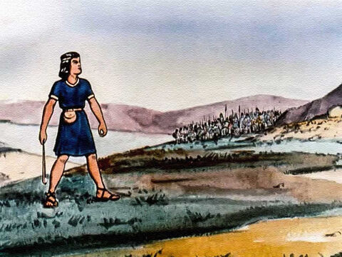 And how David went out to meet that giant, armed with only a slingshot and his faith in God? The Bible tells us he took five smooth stones from a brook and put one of them in his sling ... – Slide 10