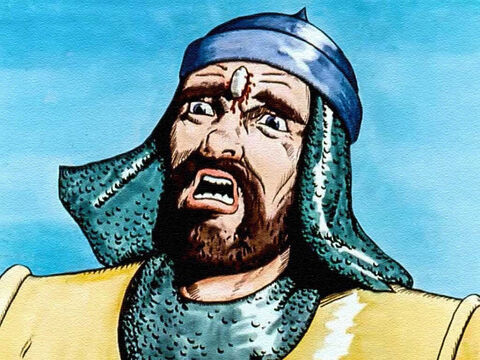 The stone hit the giant right in the middle of the forehead. – Slide 12