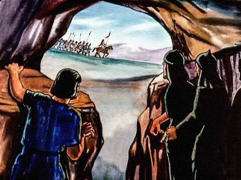 But finding David proved to be more than the king could do, and he returned to the palace empty handed. When the danger of the moment was past, David fell on his knees to thank God for protecting him. And he asked his heavenly Father to guide and direct him in the days that were to follow. God told David to gather a small army. – Slide 26