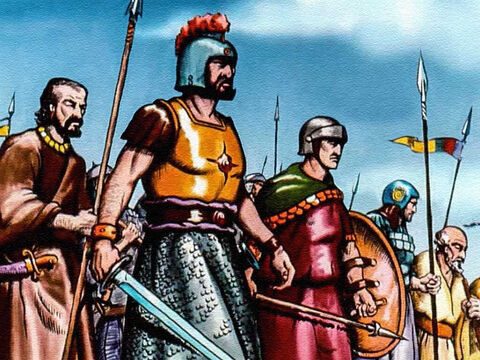 And David did as God had told him to do. He gathered together 600 men. The men were all sizes and shapes, and dressed in all kinds of armour. No one would ever have guessed that these men could stand against the army of King Saul. – Slide 27