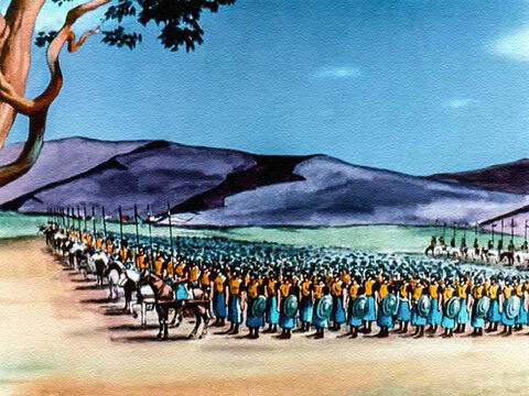 Saul's army was well equipped and highly trained. And the king's army far outnumbered David's 600 men. – Slide 28
