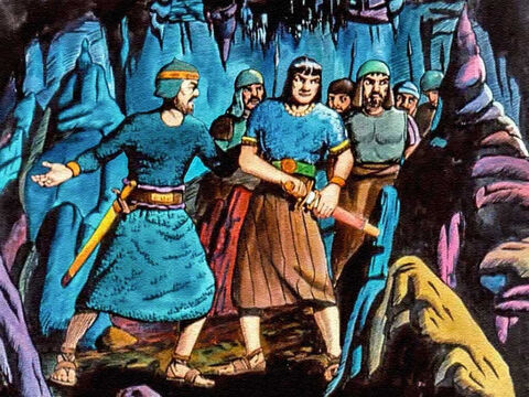 David's men looked to their leader, who was already drawing his sword. It was only right that the honour of killing Saul would be his. – Slide 36