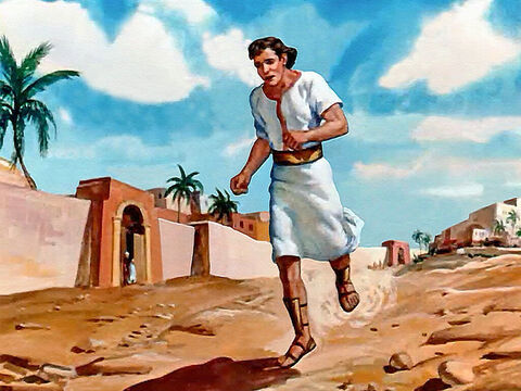 The young servant raced down the long, dusty road from Dothan to Samaria with the message for the king of Israel. – Slide 10